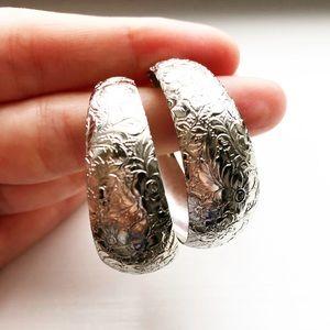 Vintage chunky silver floral hoop earrings